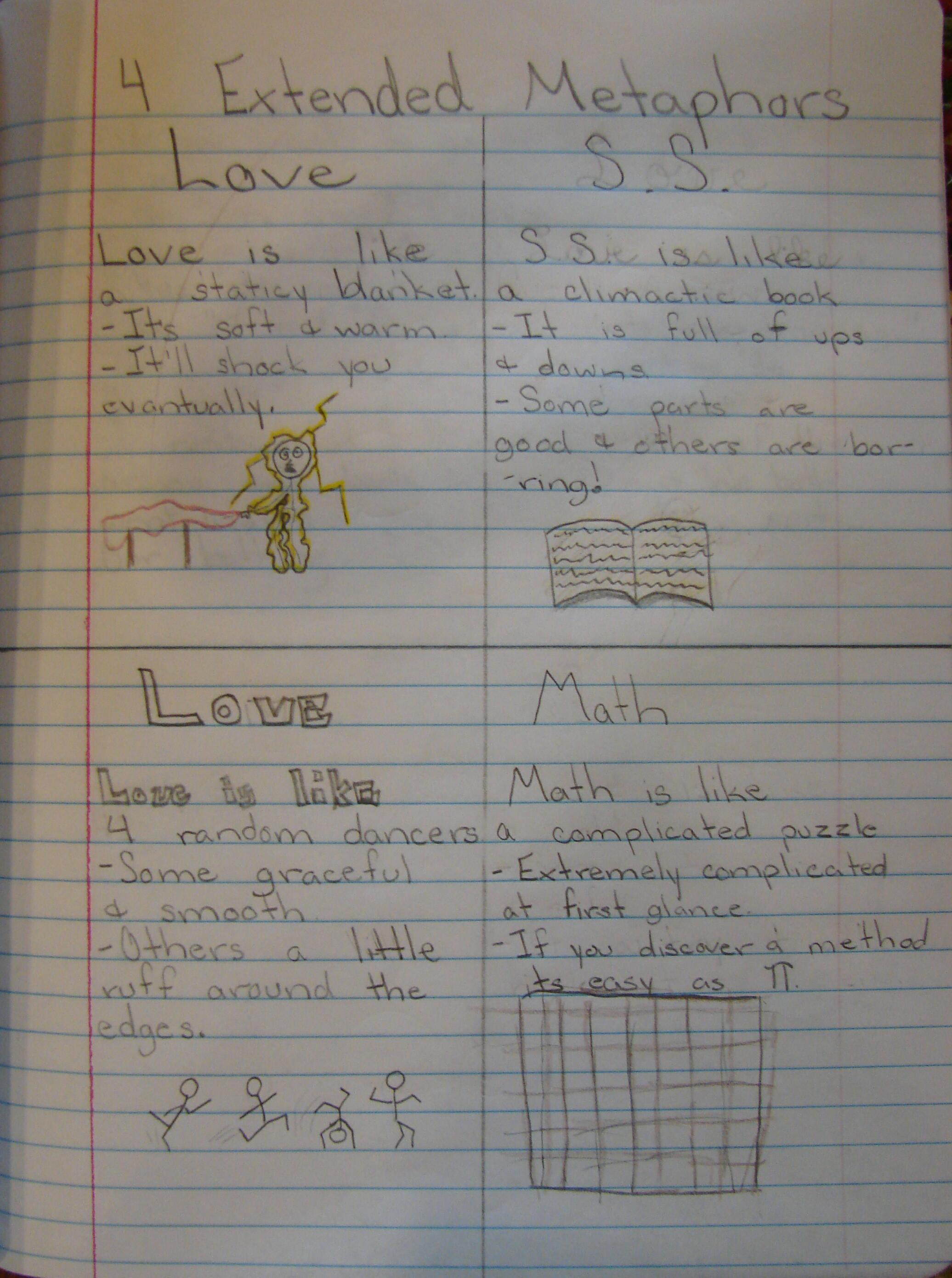 always write an original writing lesson on metaphors from corbett  some favorite extended metaphors from my own students notebooks