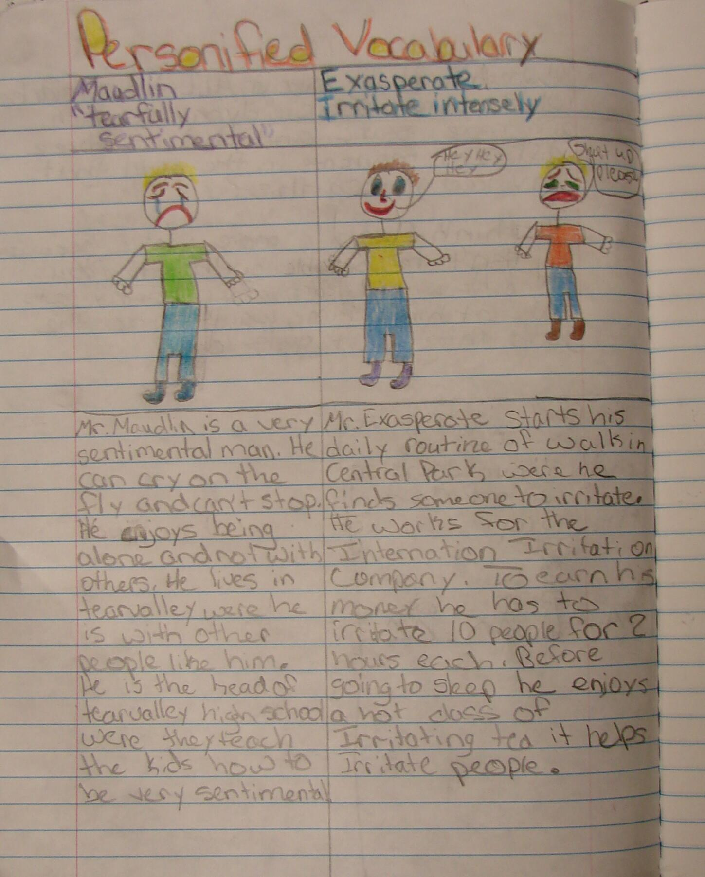 always write personifying vocabulary writing about new words my students personified vocabulary pages