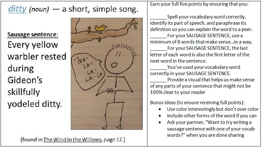 sausage sentences hall of fame writing lesson of the