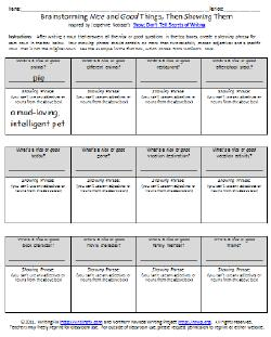Worksheets Show Don T Tell Worksheet always write a writers notebook lesson inspired by show dont brainstorming nouns that are nice